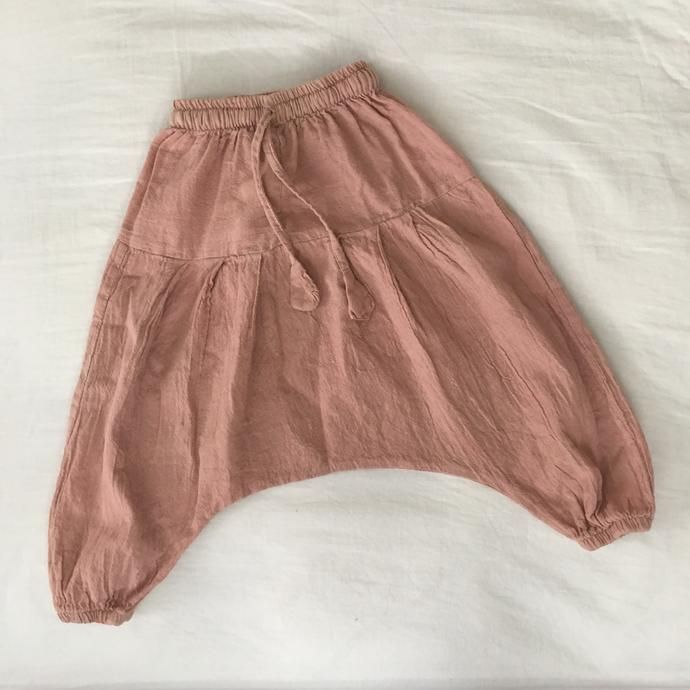 Hand Dyed Kids Harem Pants - Blush