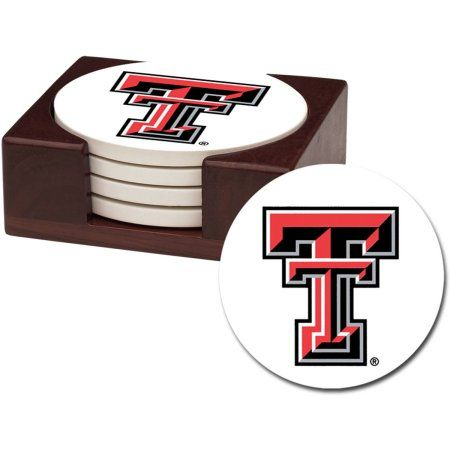 Stoneware Drink Coaster Set with Holder Included, Texas Tech University, Multicolor