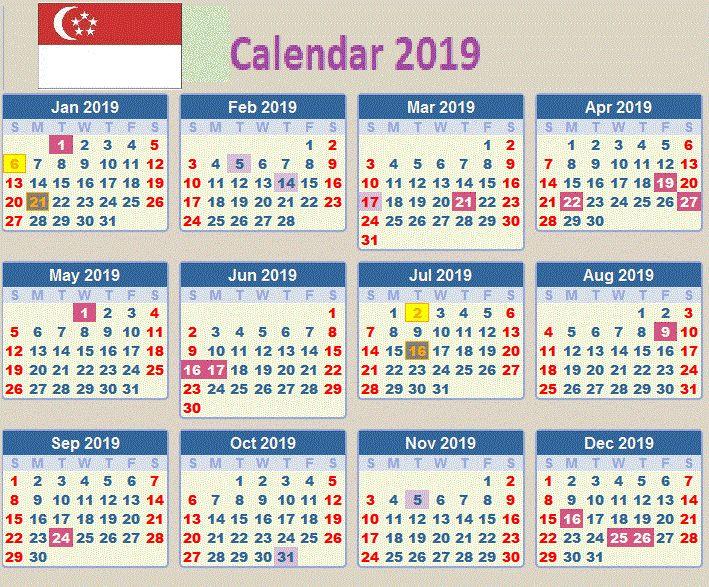 print singapore 2019 calendar