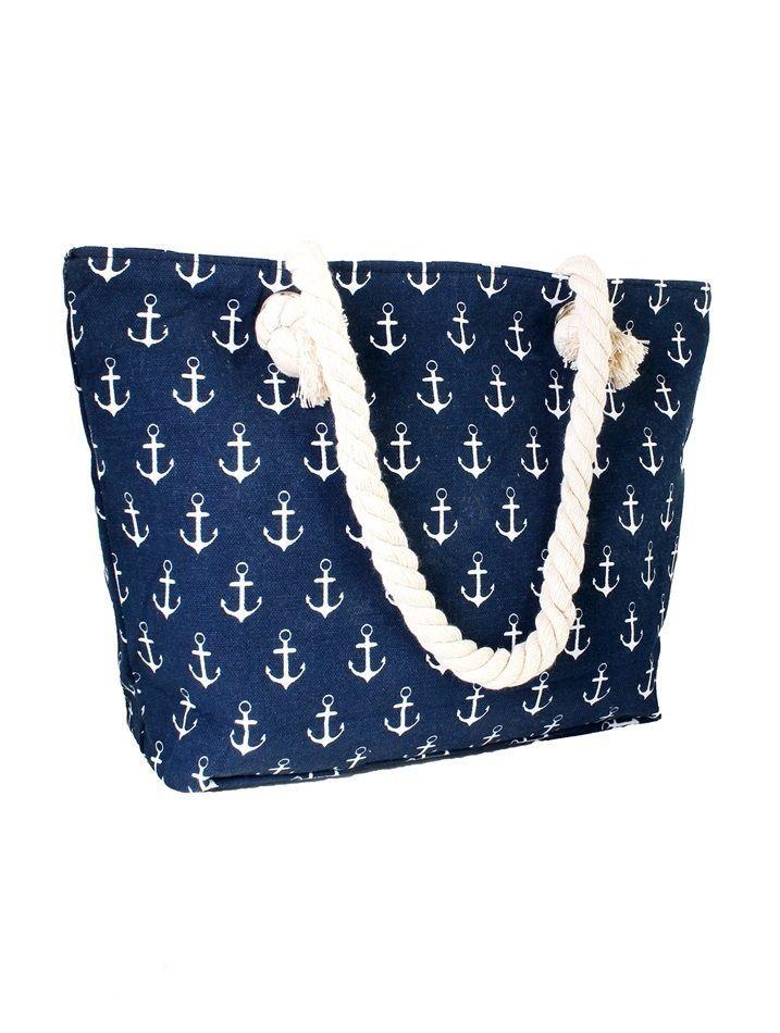 Navy Blue Durable Canvas Nautical Anchor Print Beach Tote Should Bag NEW #NorthSouthFashions #SummerBeachBag