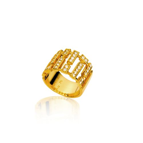 Cubic ring in 18KT yellow gold with diamonds.