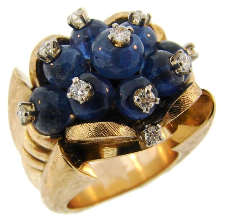 1950s French Sapphire Diamond Gold Ring | From a unique collection of vintage cocktail rings at https://www.1stdibs.com/jewelry/rings/cocktail-rings/