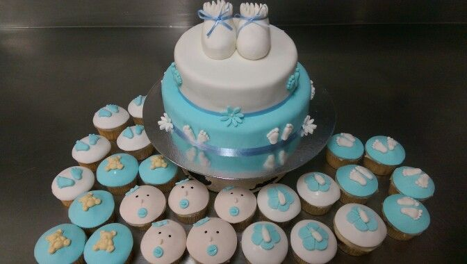 Baby boy cup cakes and cake