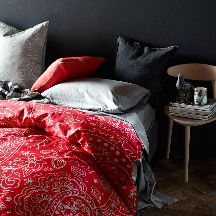 Jarni Quilt Cover in Flame by AURA Home. #aura #aurahome #tracieellis #neon #coral