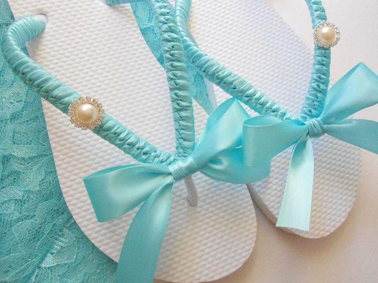 Tiffany Blue wedding shoes, Tiffany blue flip flops, decorated flip flops, maid of honor gift, rhinestone flip flops - bridal shoes. $38.00, via Etsy.