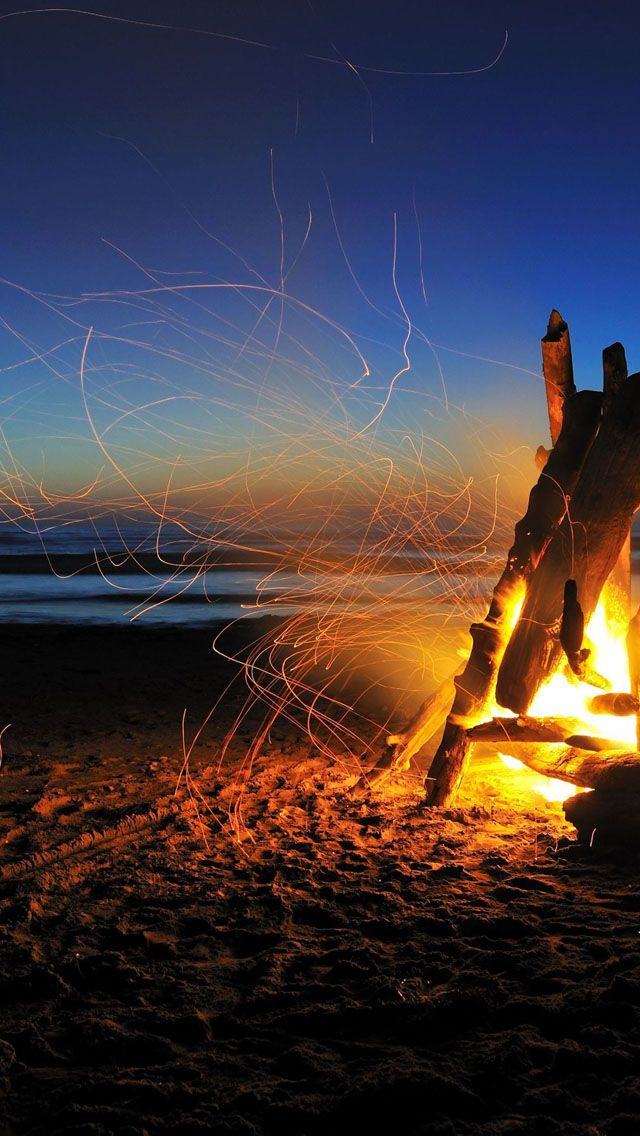 Beach Bonfire IPhone 5s Wallpaper
