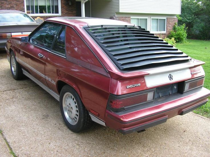 1987 Dodge Charger (1st Car), maroon with maroon interior. Omni Charger, American cars. Hatchbacks.