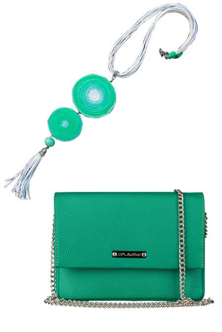 Мини образ  с зеленой сумкой и колье  купить за 1586 грн. в интернет-магазин Stilecity  ✔ Лучшие цены ☆ Создайте свой собственный образ ♡ #Stilecity, новый капсульный гардероб на каждый день. Образ содержит: сумка подвеска