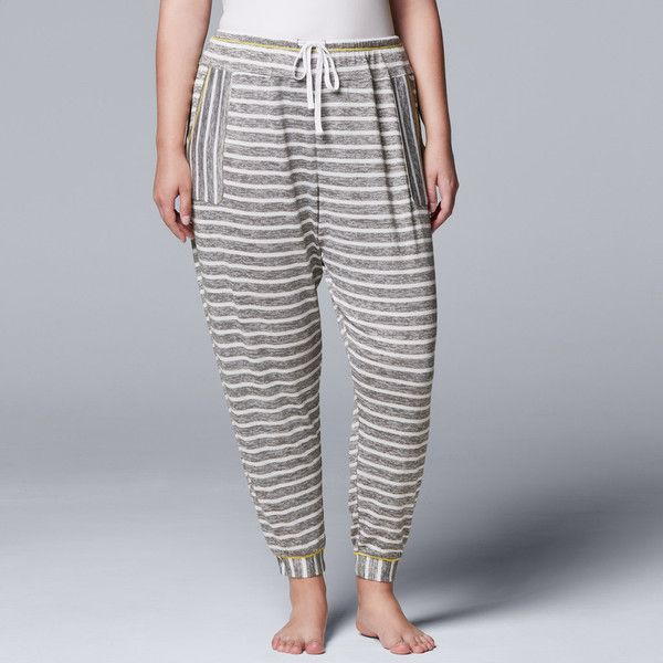 Plus Size Simply Vera Vera Wang Waking Hours Cropped Pant (100 ILS) ❤ liked on Polyvore featuring plus size women's fashion, plus size clothing, plus size pants, plus size capris, grey, plus size, gray capris, plus size crop pants, plus size capri pants and drawstring capri pants