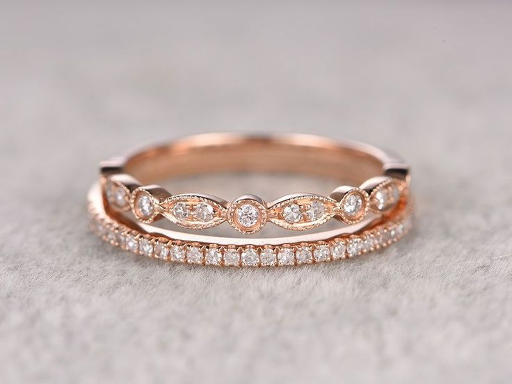 2pcs Diamond Wedding Ring Sets Rose Gold Half Eternity Band Thin And Antique Art Deco Anniversary