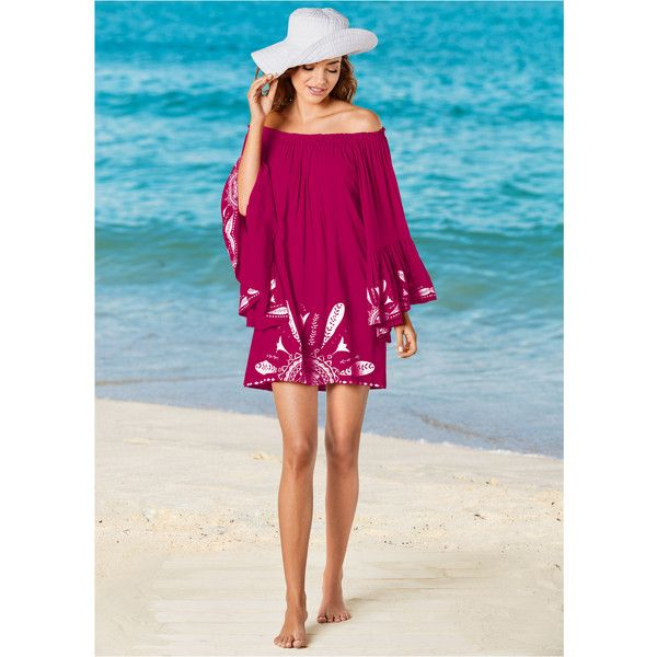 Venus Women's Bell Sleeve Cover-Up Cover-Up (125 BRL) ❤ liked on Polyvore featuring swimwear, cover-ups, pink, cover up beachwear, off-the-shoulder swimwear, venus swimwear, cover up swimwear and venus cover up