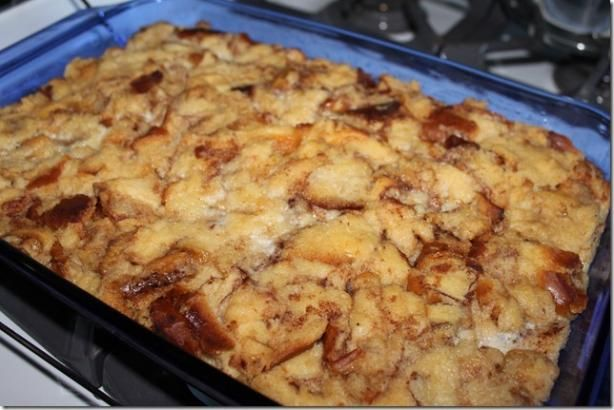 Cinnamon Roll Bread Pudding from Food.com:   Does this sound incredible or what?! 8) (prep time estimates chilling and overnight time)