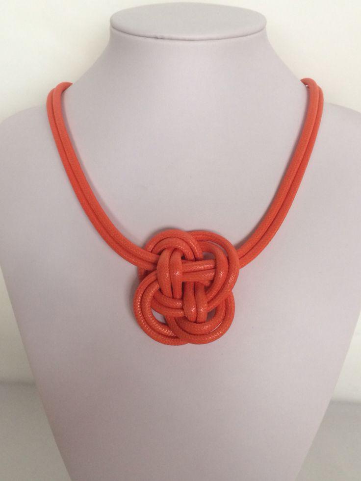 Bright orange knot necklace