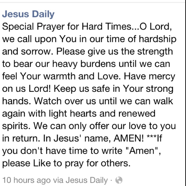 Hard Time Quotes About Life: Prayer For Hard Times In Life!