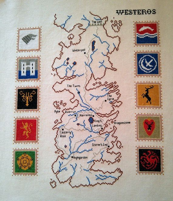 Map of Westeros cross stitch pattern Game of Thrones