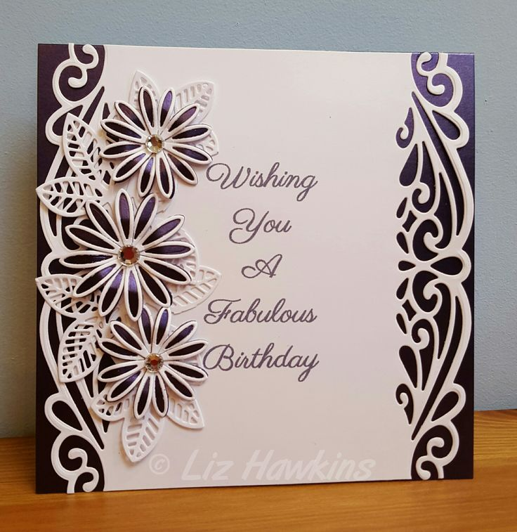 S6 Crafting Printed sentiment on a panel cut with Sue Wilson Ursa die Foliage cut with Sue WIlson Faux Quilled Leaves die Flowers cut with Sue WIlson Delicate Daisies (open and complete petals) And a little bit of bling ;-)