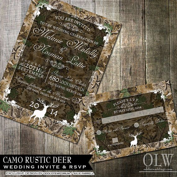 Rustic Camo Tree Wedding Invitation Suite - Deer, Wood, Fall, Hunter- Digital Invitation, RSVP card