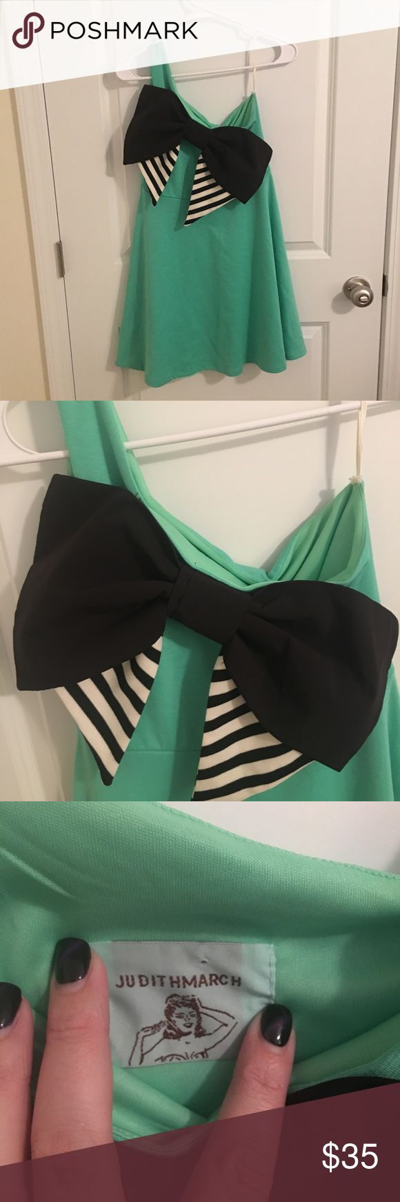 Judith March One Shoulder Dress Judith Match one shoulder dress. In a mint green with black and white signature bow. Judith March Dresses One Shoulder