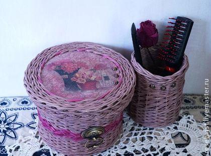 Корзинка плетеная Warmth - коричневый,темно-розовый,плетение из бумаги