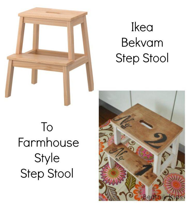 Ikea Hack:  Farmhouse Style Step Stool upcycle step stool Ikea hack home decor decor