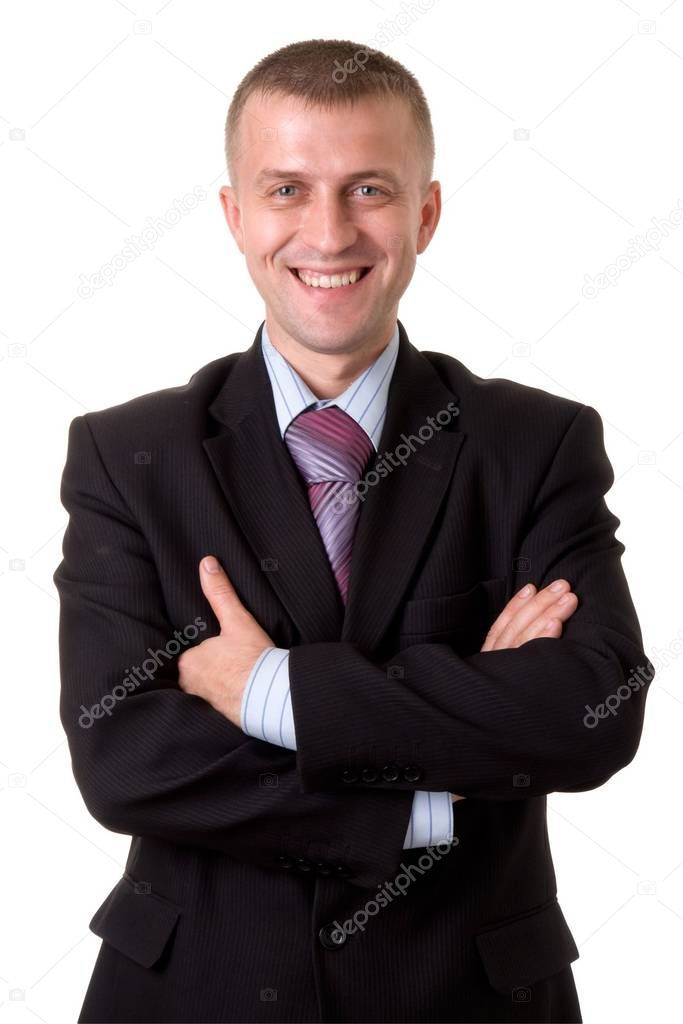 Smiling Young Businessman Isolated White Background Stock Photo