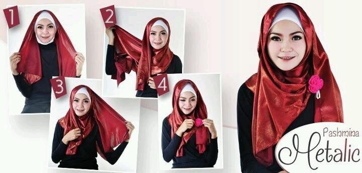 Metallic pashmina hijab from My Baju Muslim....