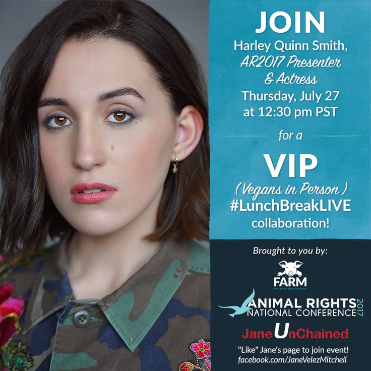 Join Harley Quinn Smith at #LunchBreakLive with Jane Velez-Mitchell on July 27th at 12:30pm. Head over to  www.facebook.com/JaneVelezMitchell  for the complete details.