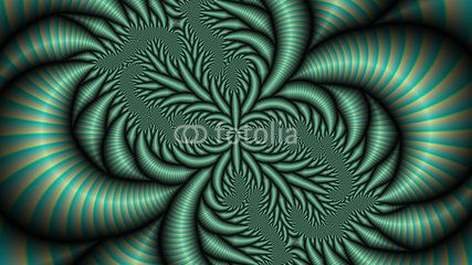 Abstract foliage computer generated in phosphorescent tones