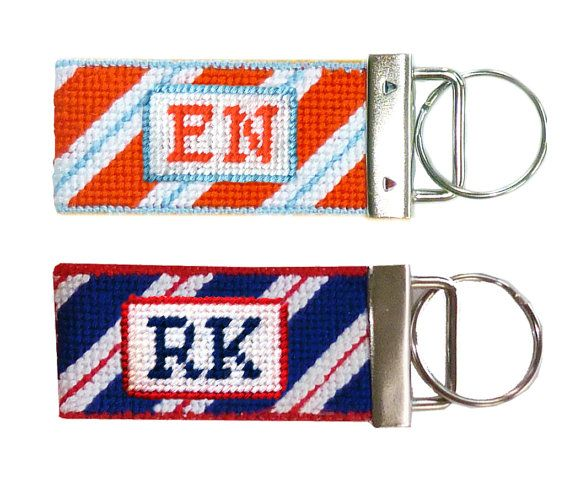 Needlepoint Kit Monogrammed Key Fob by StinaStitches on Etsy, $14.75 (mint julep color combination)