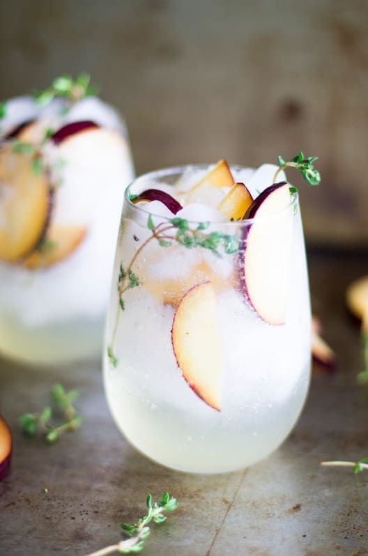 prosecco smash with plum and thyme