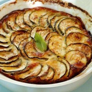 Zucchine gratinate con mozzarella prosciutto cotto e pomodori