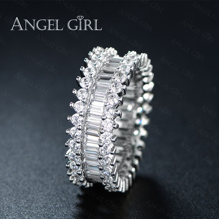Angel Girl Hot Sales Luxury Rings Paved Rectangle Crystal&CZ Diamond Wedding&Engagement   Rings Jewelry For Women R49-60730