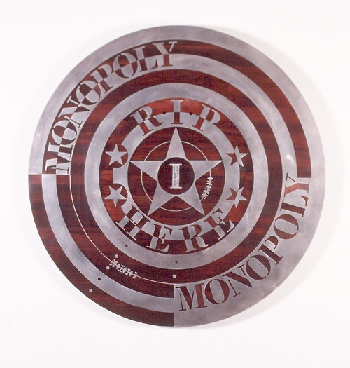 bob jahnke  Monopoly (1995)  Stainless steel, wood  1000mm diameter