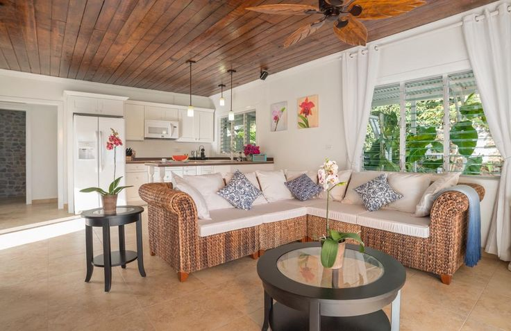 Living room; new tiles, ceiling, lights, furniture, fixtures, side patio door & fresh coat of paint #saba #visitsaba #julianashotel #remodel #renovation #makeover #orchid #orchidcottage