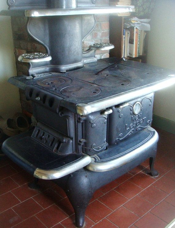 Vintage Antique Classic Cast Iron Kitchen Stove By New Leader