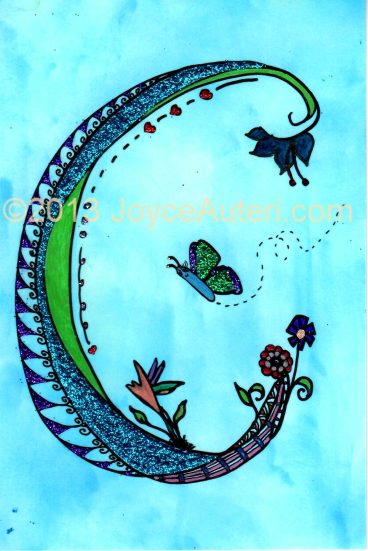 'C' 4x6 print on high quality paper, embellished with glitter, matted & framed to 5x7, ready to hang or display on shelf: $35