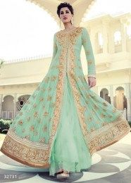 Aqua Color All New Heavy Embroidered Anarkali Suit