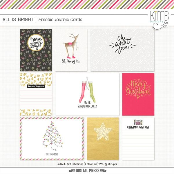 Free All Things Bright Journal Cards from Kim B Designs