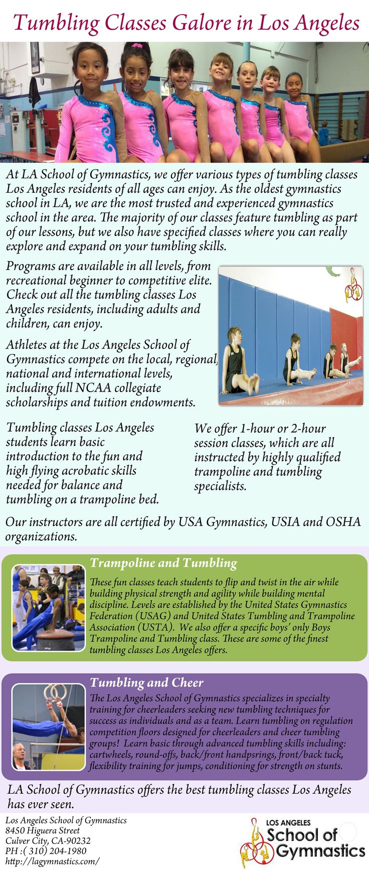 As the oldest gymnastics school in LA, we are the most trusted and experienced gymnastics school in the area.Log on http://lagymnastics.com/