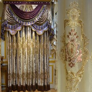 European Victorian Style Gold Velvet Vintage Curtain Without Valance