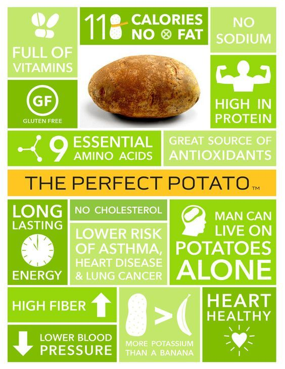 Nutritional value of potatoes per 100g: How many calories in a potato – 77, How much protein in a potato – 2g, How many carbs in a potato – 17g