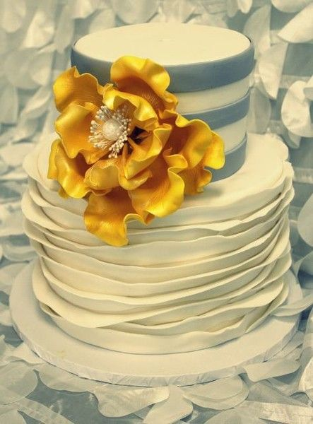 Ruffled #WeddingCake with Yellow Flower I Frosted Cakery