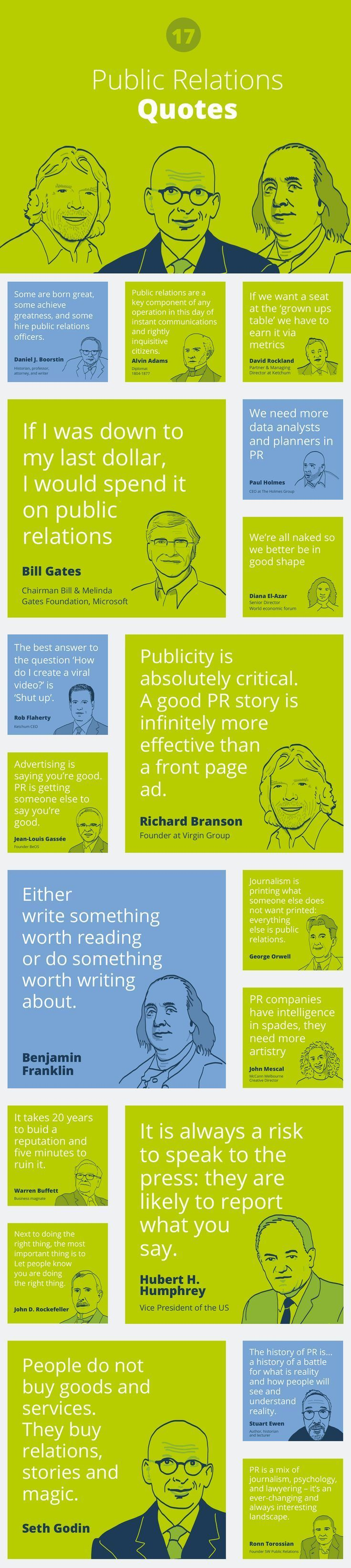 17 famous Public relations quotes by http://www.prezly.com #pr #publicrelations