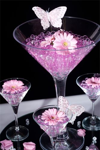 Water Crystals Add A Splash Of Color To A Martini Glass Centerpiece, See  Flower Petals On Mirror