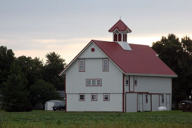 Finley Roofing White barn with a red roof | Barns & Windmills | Pinterest
