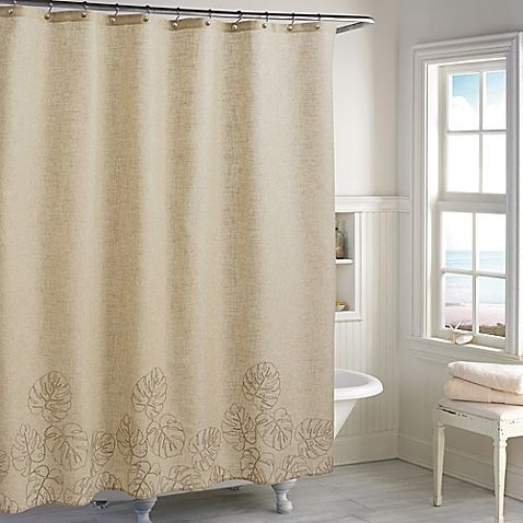 Make your morning routine more tropical with the casual look of the Destinations Panama Shower Curtain. A coastal palm leaf design trims the linen ground of this shower accessory, adding an element of natural beauty into your décor.