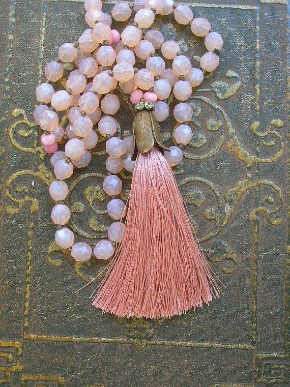 Long boho necklace pink tassel necklace Journey by 3DivasStudio, $101.00