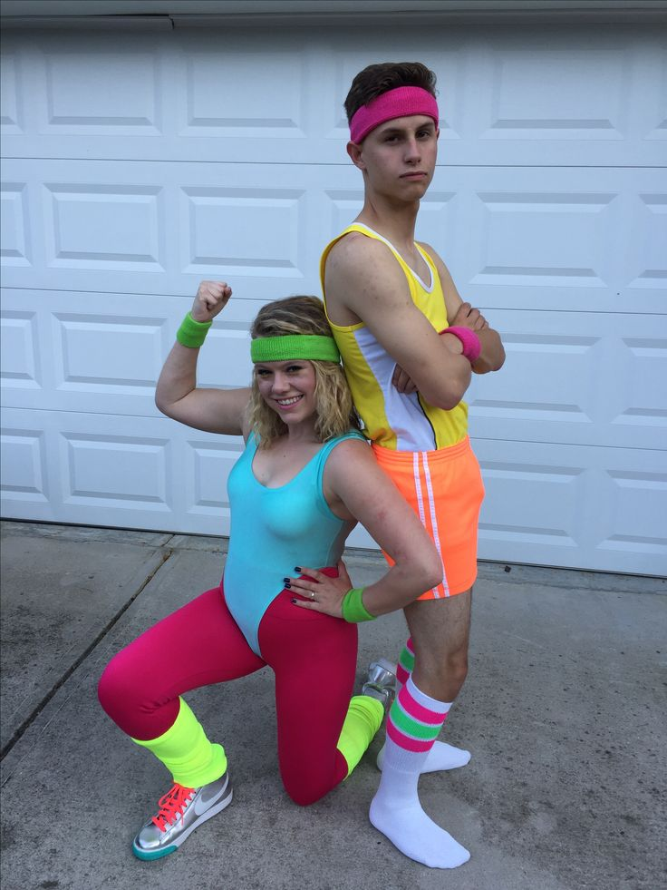 80's Workout Couples Costume #costume #halloween #couplecostume #80s #80scostume #couple #neon #80sworkout