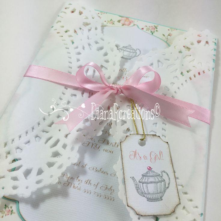 boy baby shower invitations australia%0A Tea party Baby Shower Invitations   dianarcreations