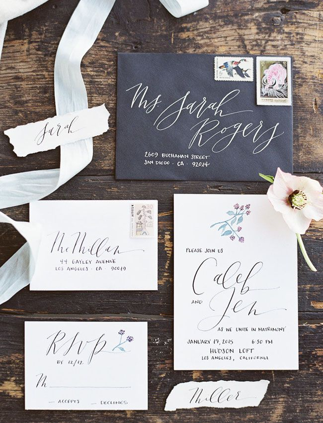 Modern Organic Wedding Inspiration Engagement InvitationsWedding
